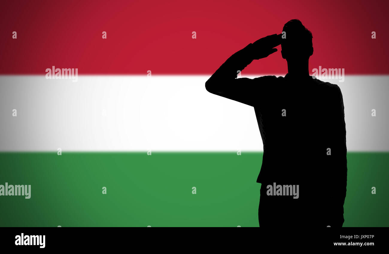 silhouette of a soldier saluting against the hungary flag