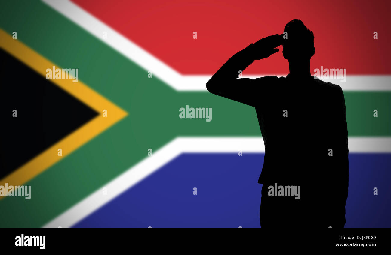silhouette of a soldier saluting against the south africa flag
