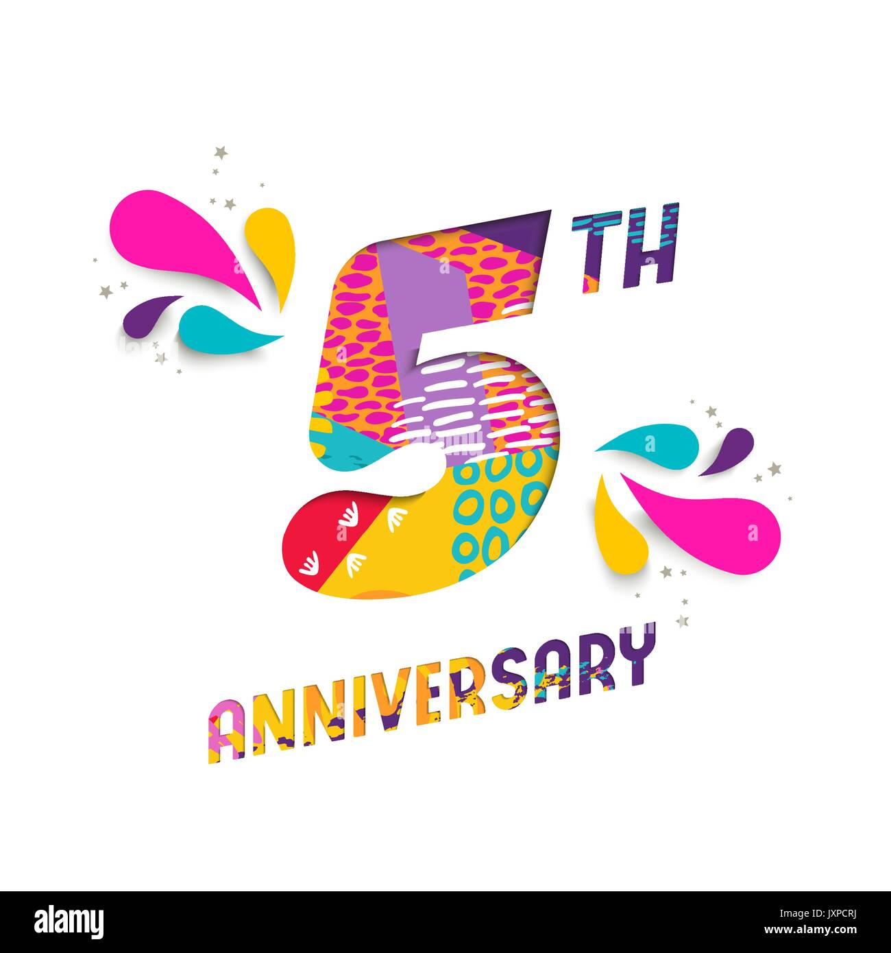 5th wedding anniversary stock photos 5th wedding anniversary happy 5 five year anniversary fun paper cut number and text label design with colorful biocorpaavc Gallery