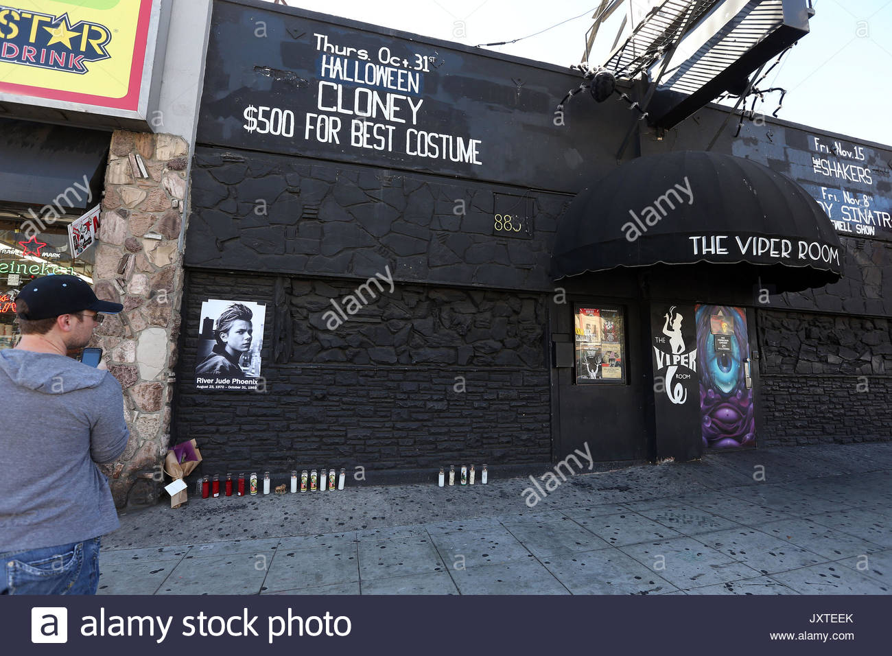 General View. Candles are placed outside The Viper Room to mark ...