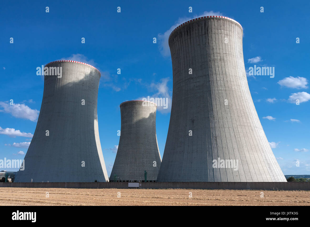Three Chimneys Of Nuclear Power Station In The Summer Day Cooling Jxtk G