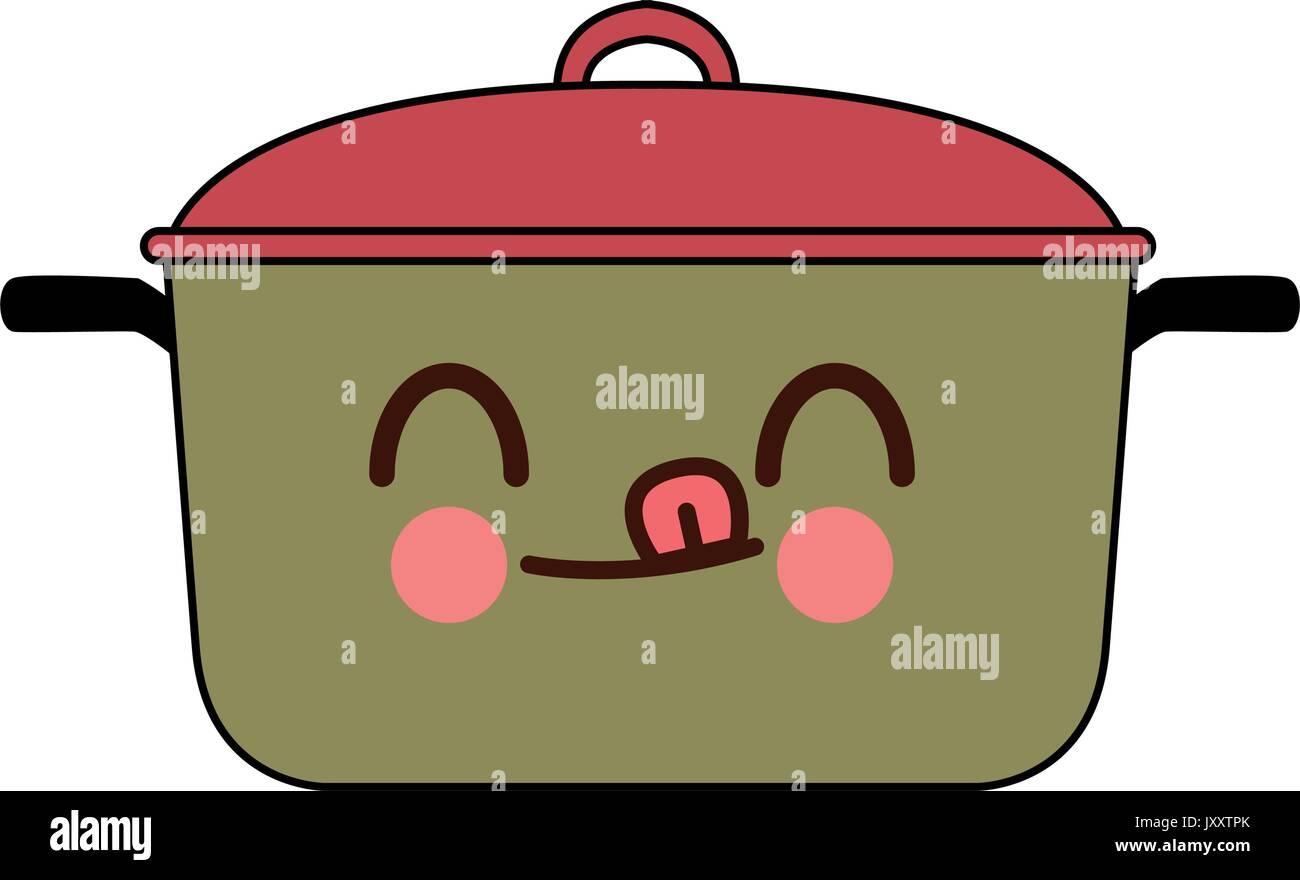 Kawaii Kitchen Pot Cartoon Saucepan Of To Cooking Stock