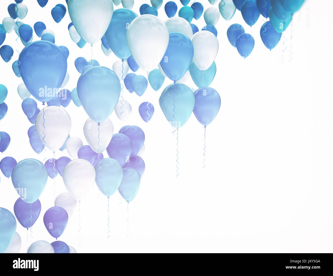 blue and white party balloons isolated on white background stock
