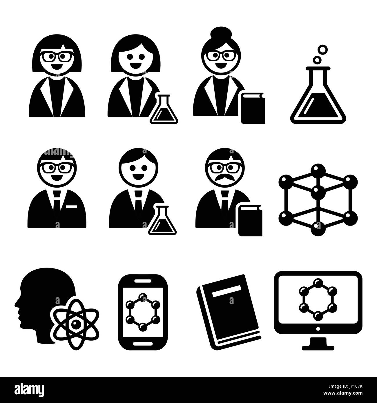 Scientist Woman And Man Science Icons Set People In Science Stock