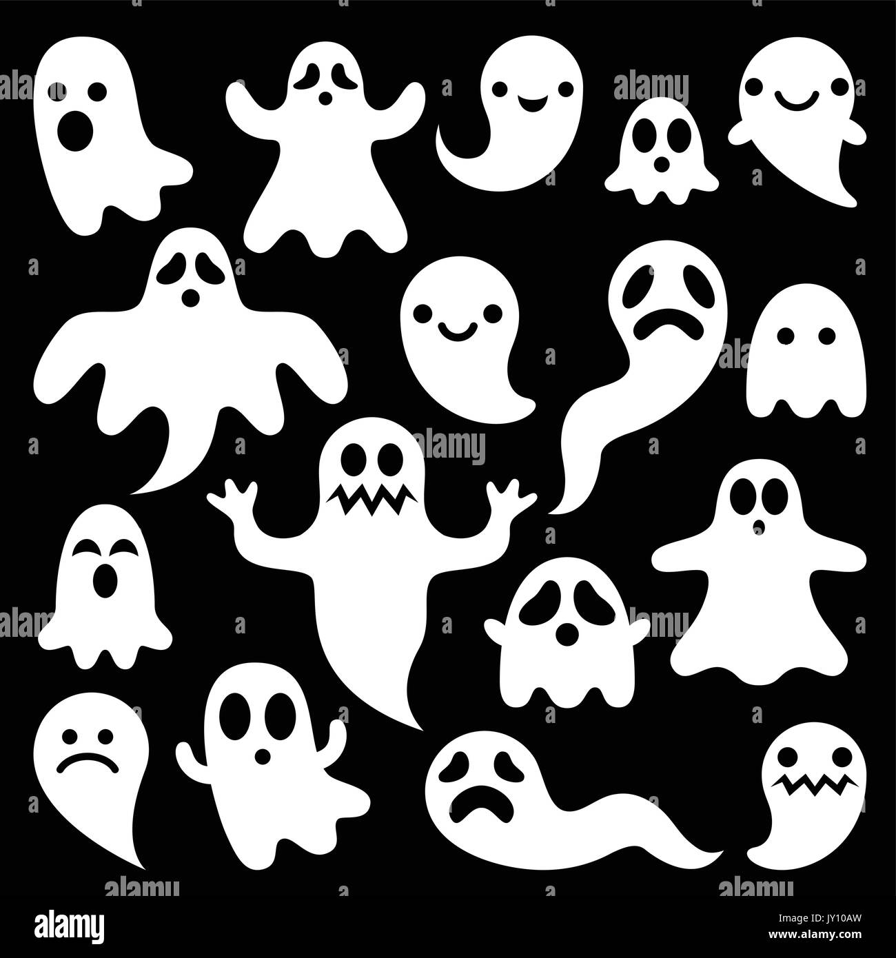 Scary ghosts design halloween characters icons set vector icons scary ghosts design halloween characters icons set vector icons set for halloween cartoon ghost characters isolated on black publicscrutiny Images