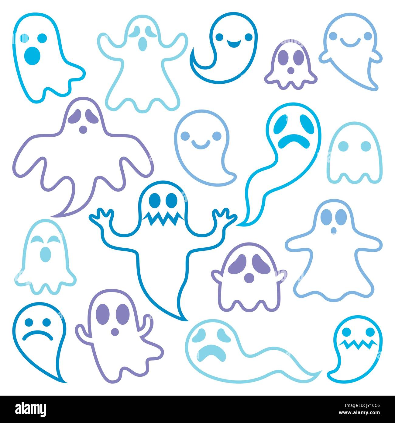 Scary ghosts design, Halloween characters icons set Vector icons ...