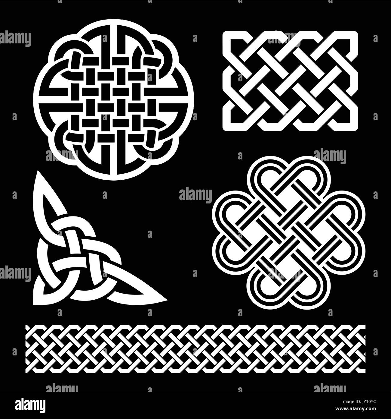 Scottish celtic cross vector sign stock photos scottish celtic celtic irish knots braids and patterns in white on black background vector set of traditional buycottarizona