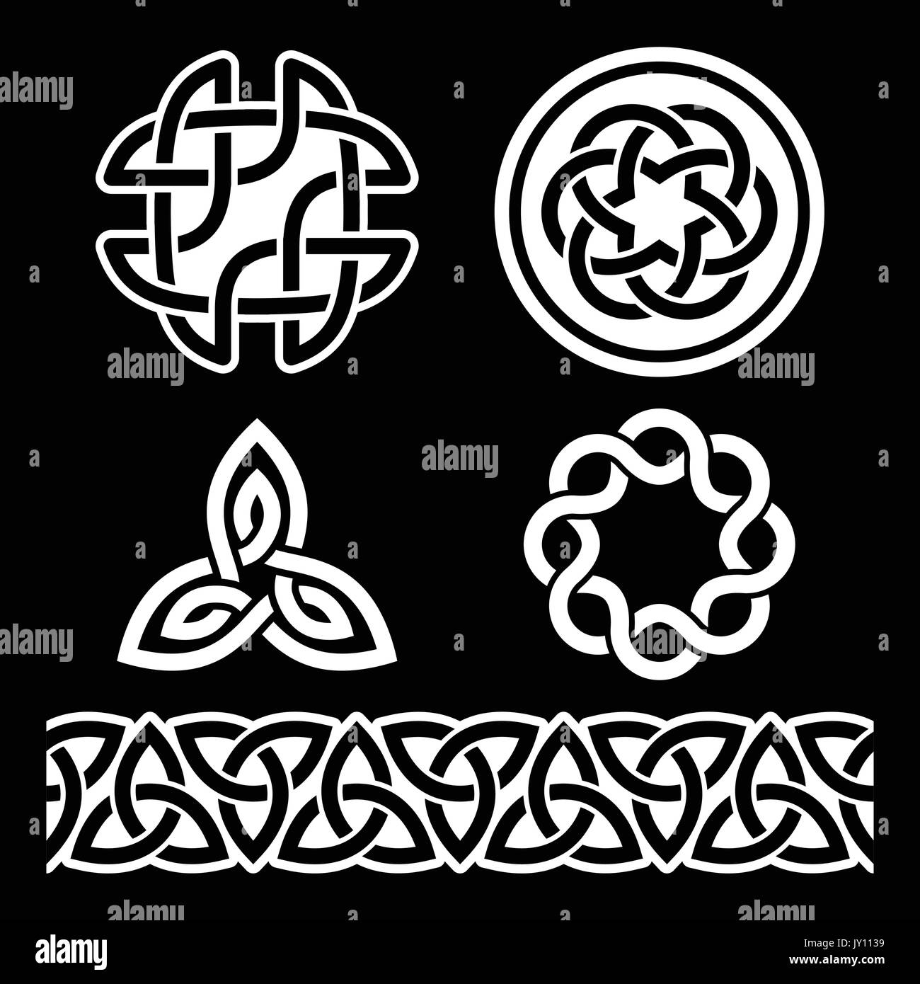 Scottish celtic cross vector sign on black stock photos scottish celtic irish knots braids and patterns in white on black background vector set of traditional buycottarizona