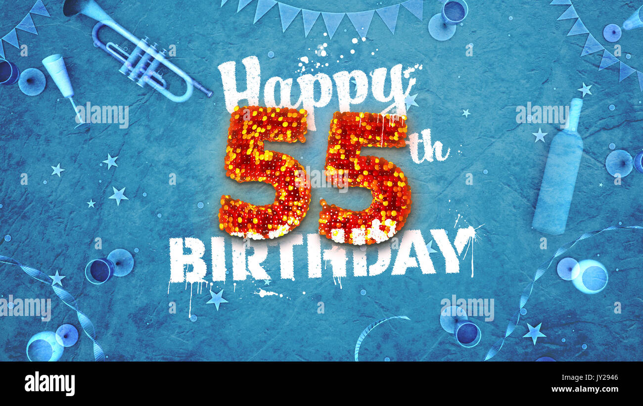 Happy 55th Birthday Card With Beautiful Details Such As Wine Bottle Champagne Glasses Garland Pennant Stars And Confetti Blue Background Red