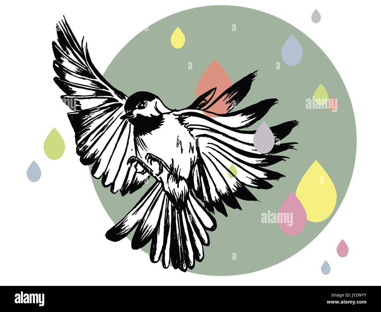 Vector Illustration Of A Hand Drawn Bird On Flat Design Grey Blue Circle And Pastel Coloured Rain The Background
