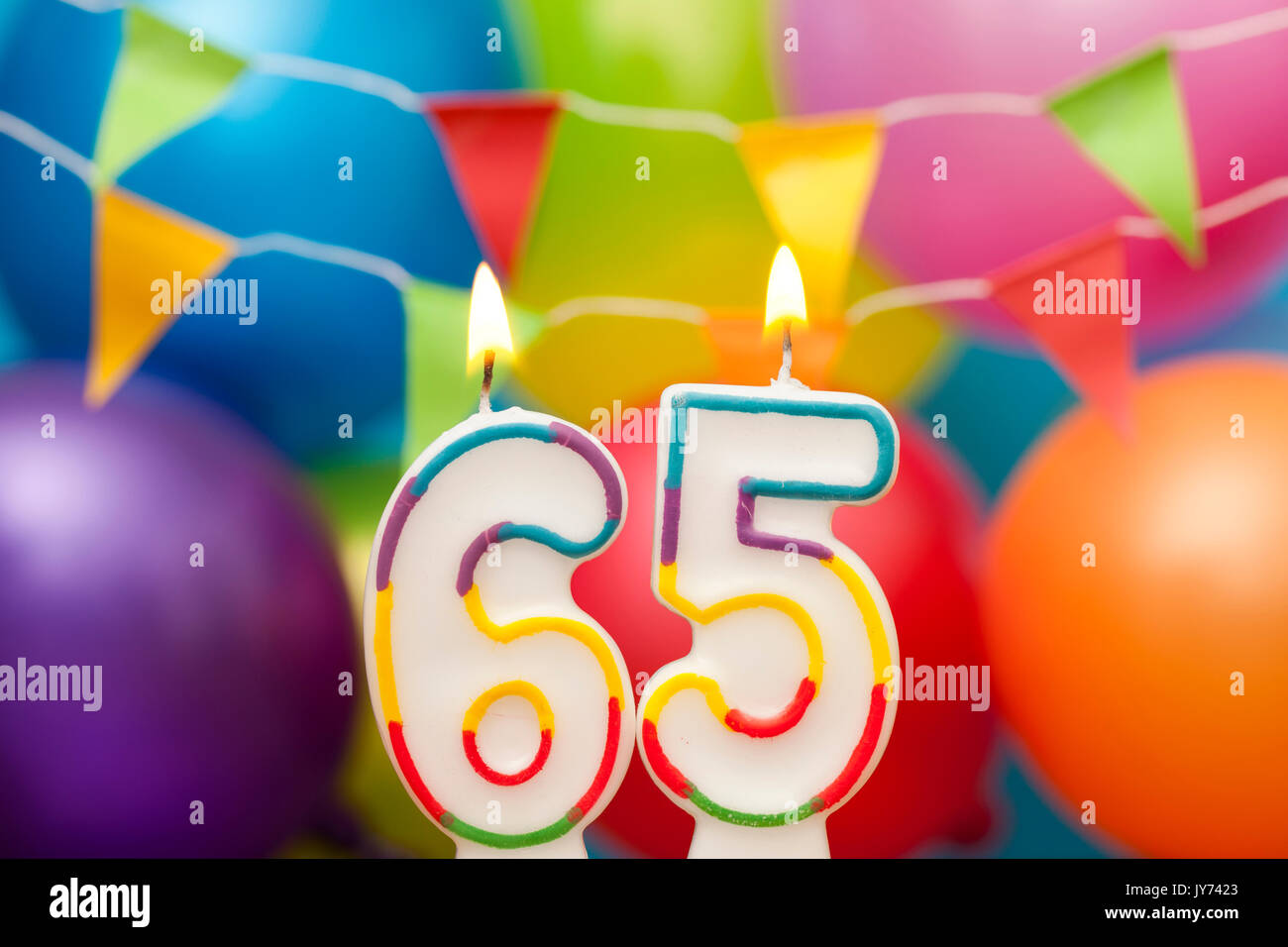 Bunting Happy 65th Birthday Banners Stickers Confetti Garlands