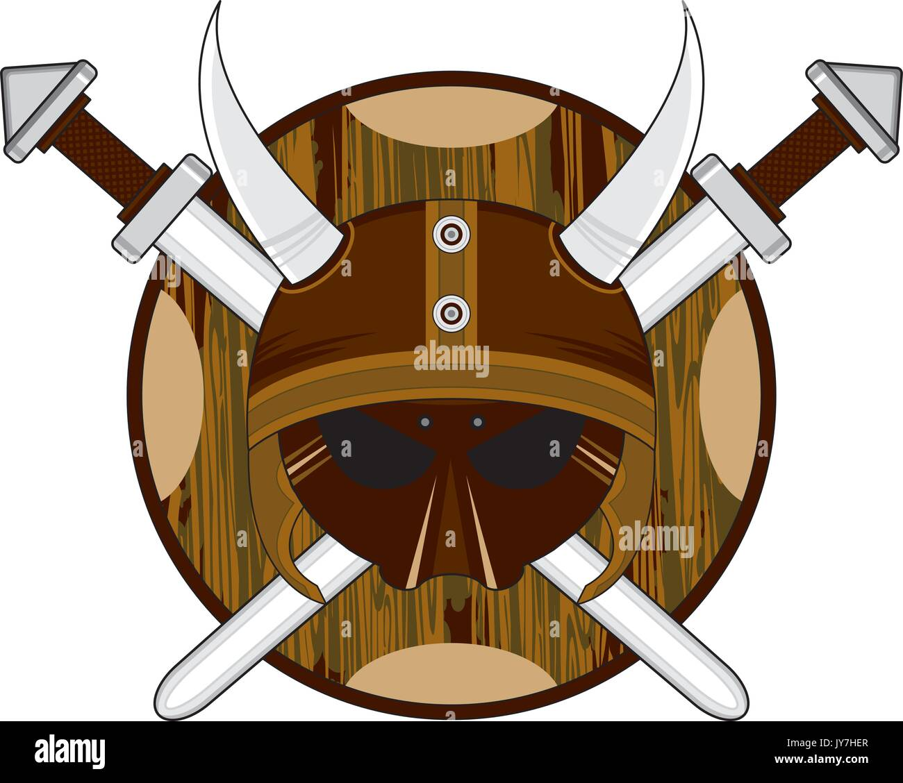cartoon norse viking warrior helmet with shields and crossed