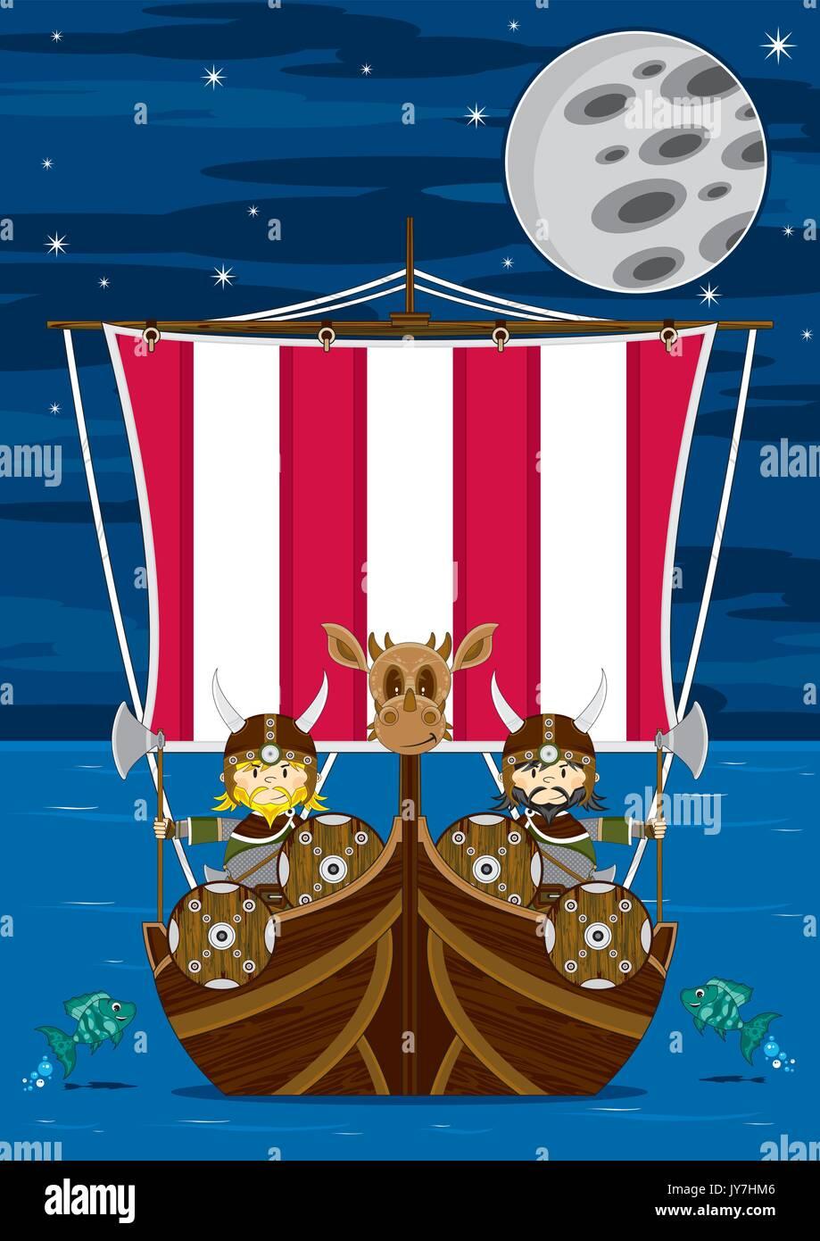 Cartoon Norse Viking Warriors and Longship Vector Illustration Stock ...