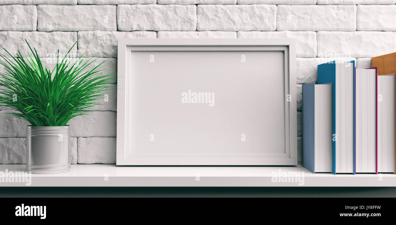 Frame and books on a white shelf - bricks wall background. 3d Stock ...