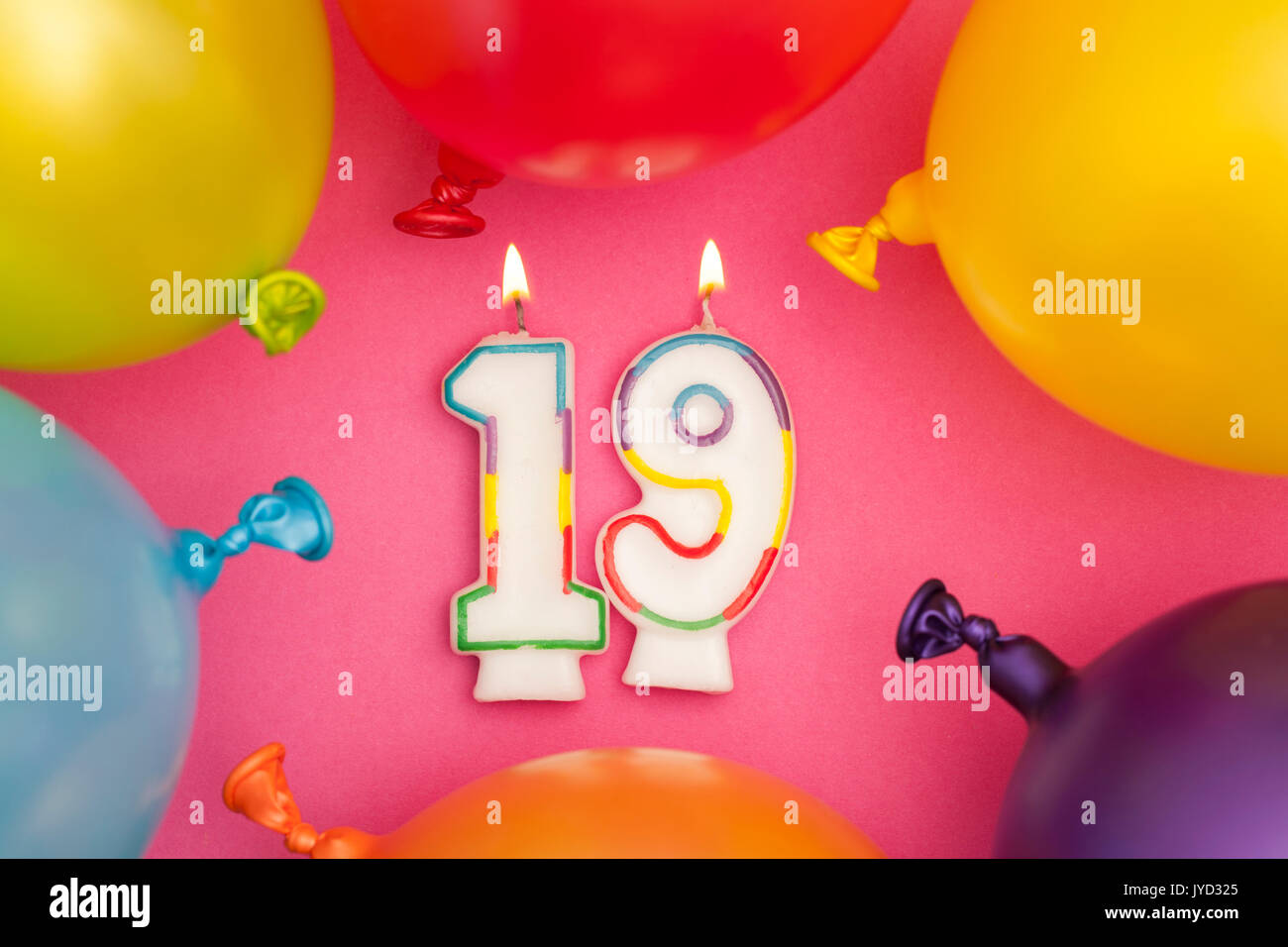 Happy Birthday Number 19 Celebration Candle With Colorful Balloons