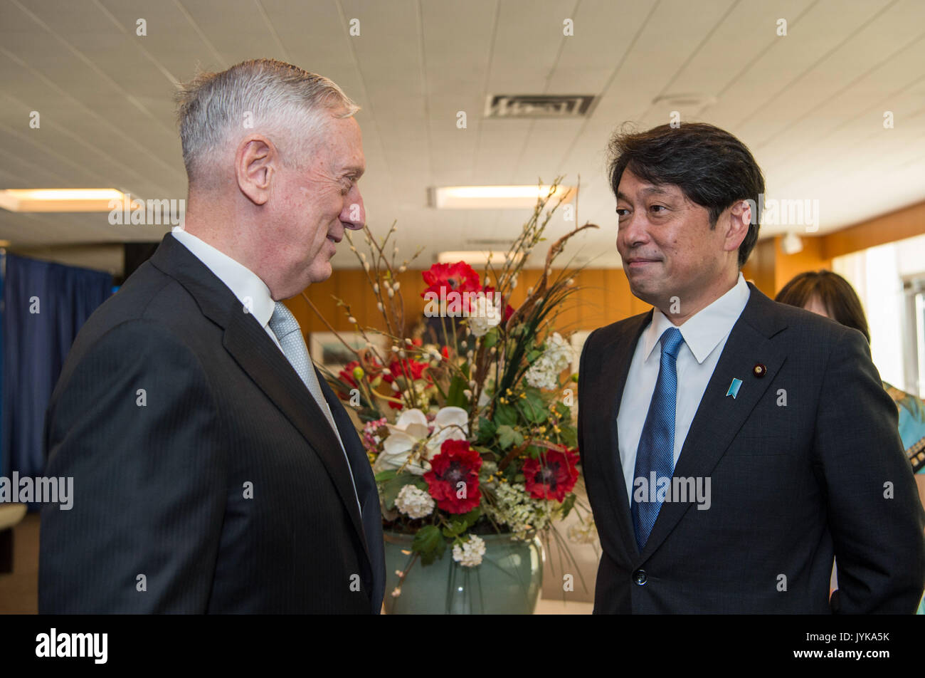 Secretary of Defense Jim Mattis greets Itsunori odera Minister