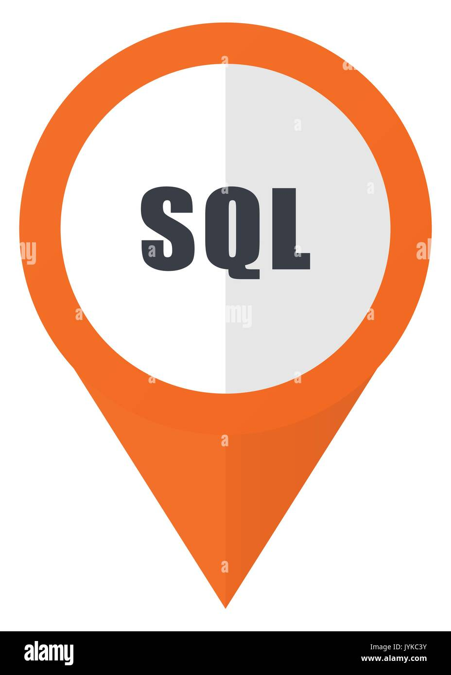 Sql Orange Pointer Vector Icon In Eps 10 Isolated On White Stock