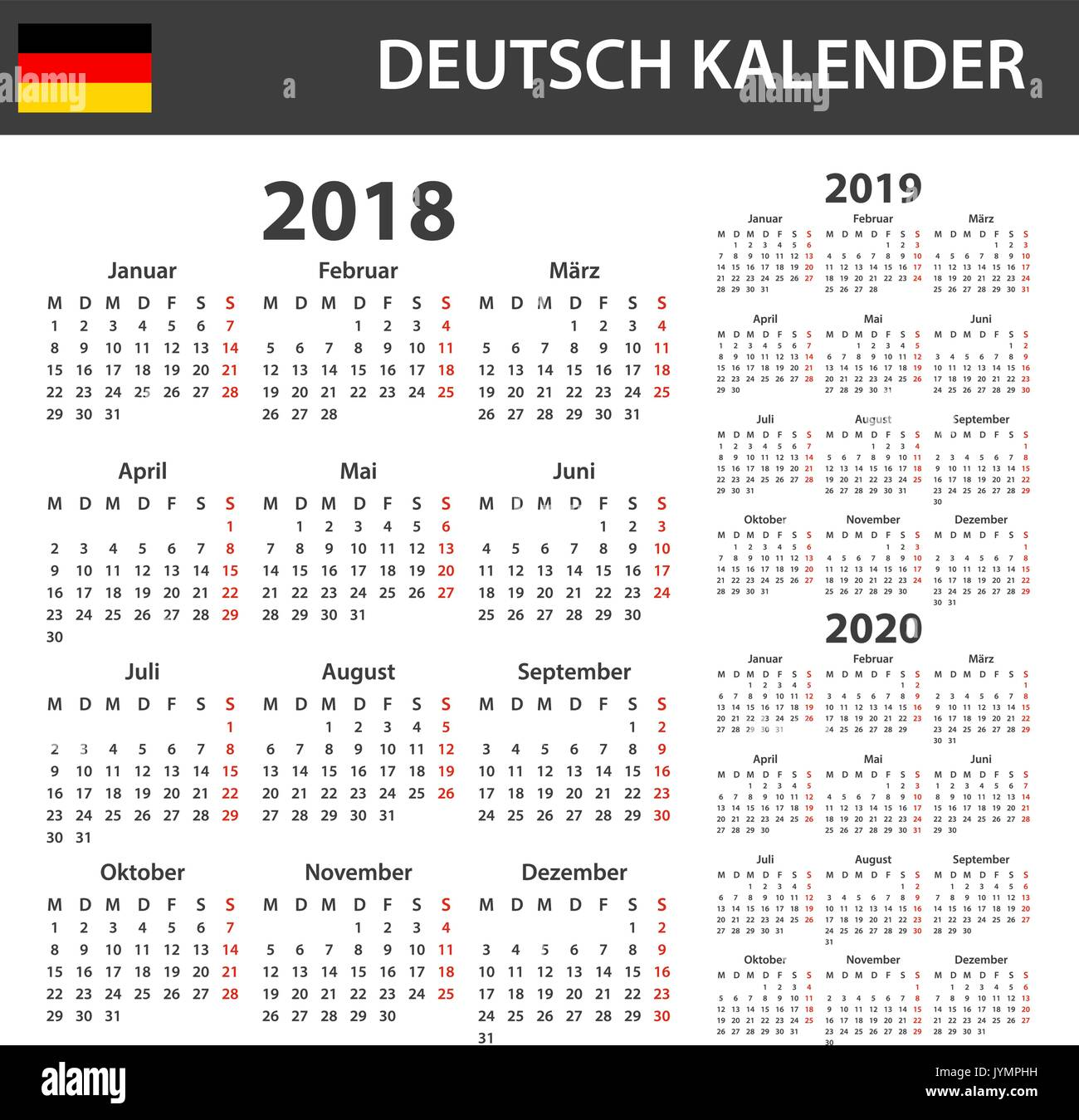 german calendar for 2018 2019 and 2020 scheduler agenda or diary template week starts on monday