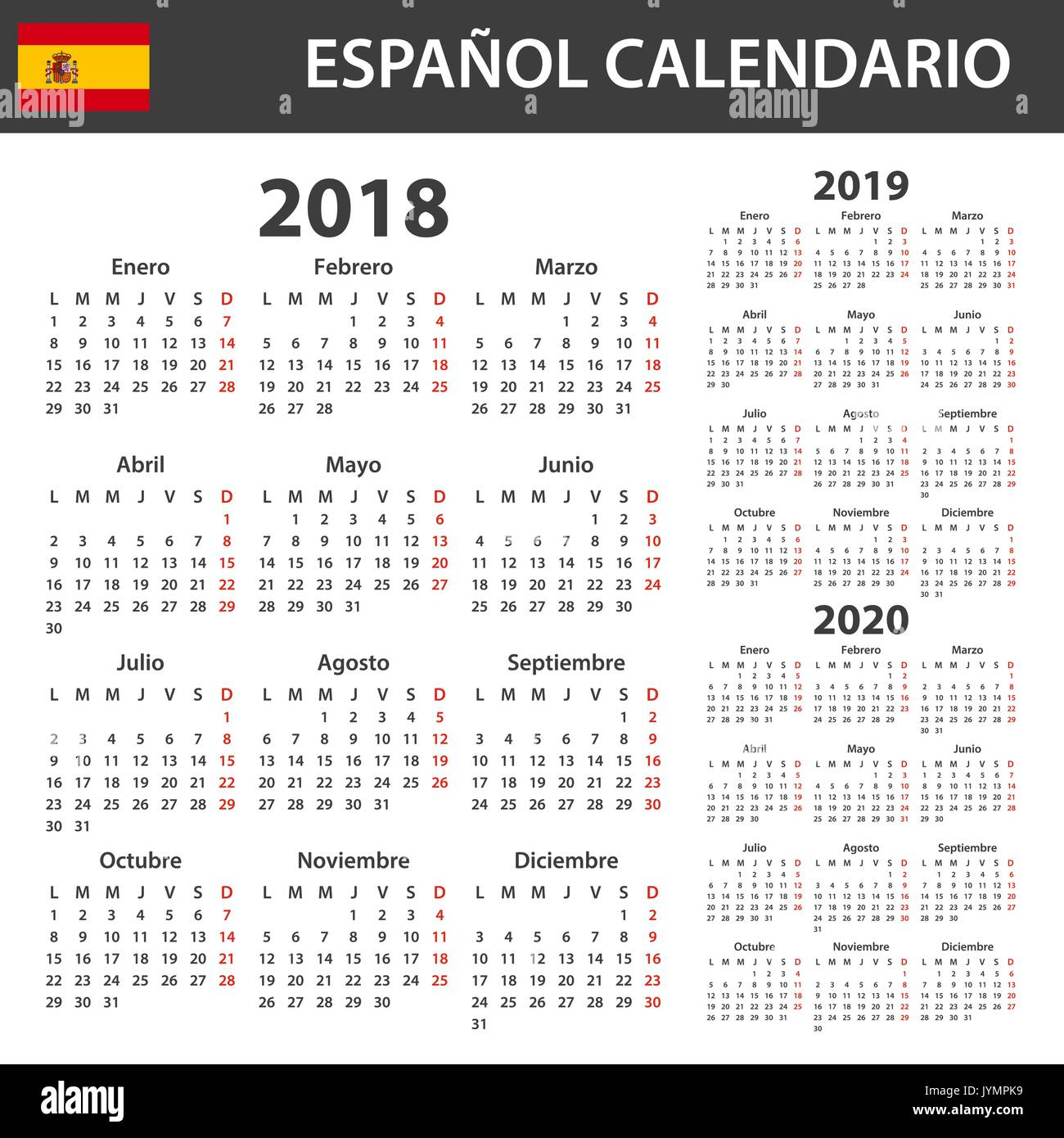 spanish calendar for 2018 2019 and 2020 scheduler agenda or diary template week starts on monday