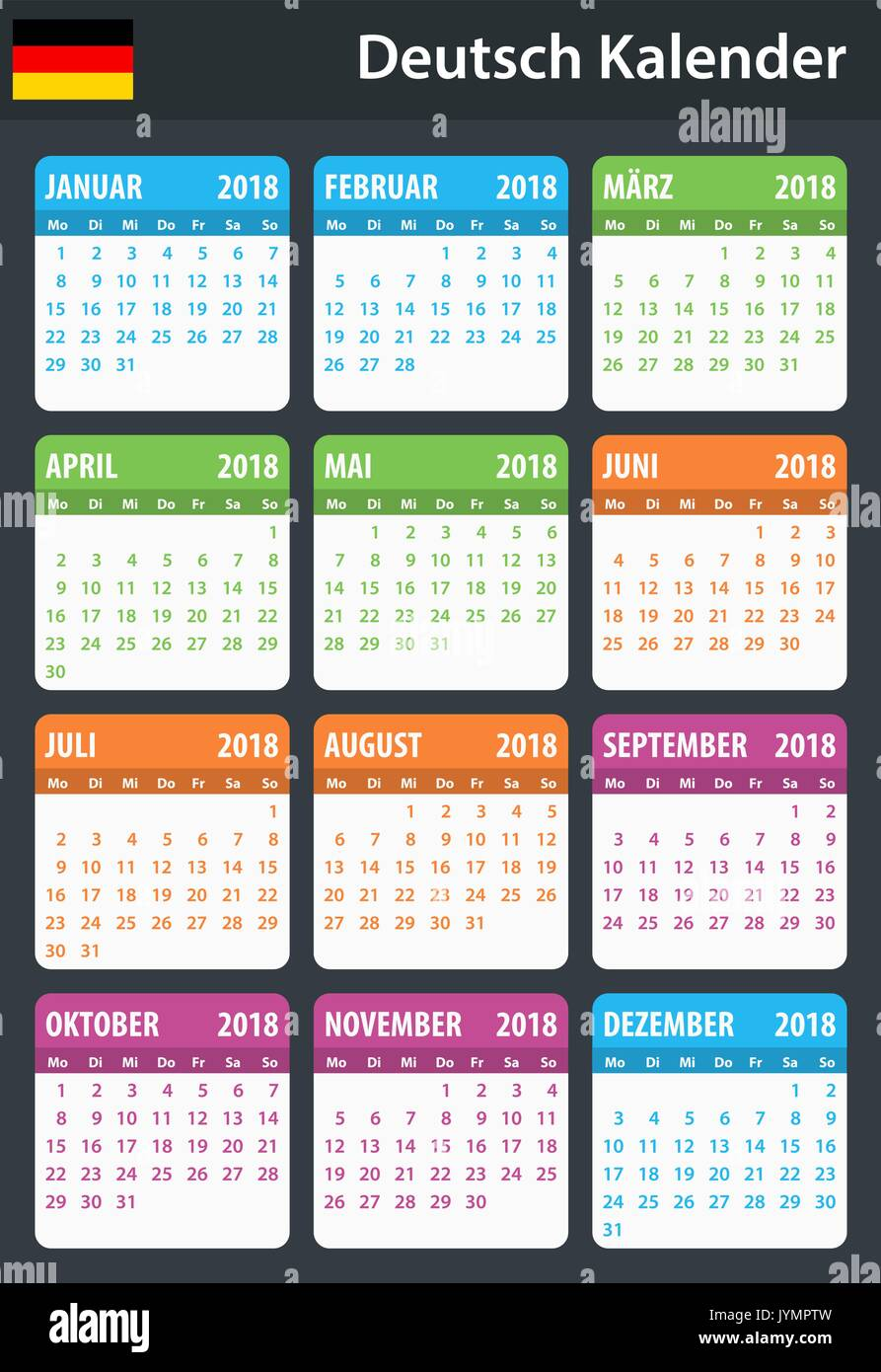 german calendar for 2018 scheduler agenda or diary template week starts on monday