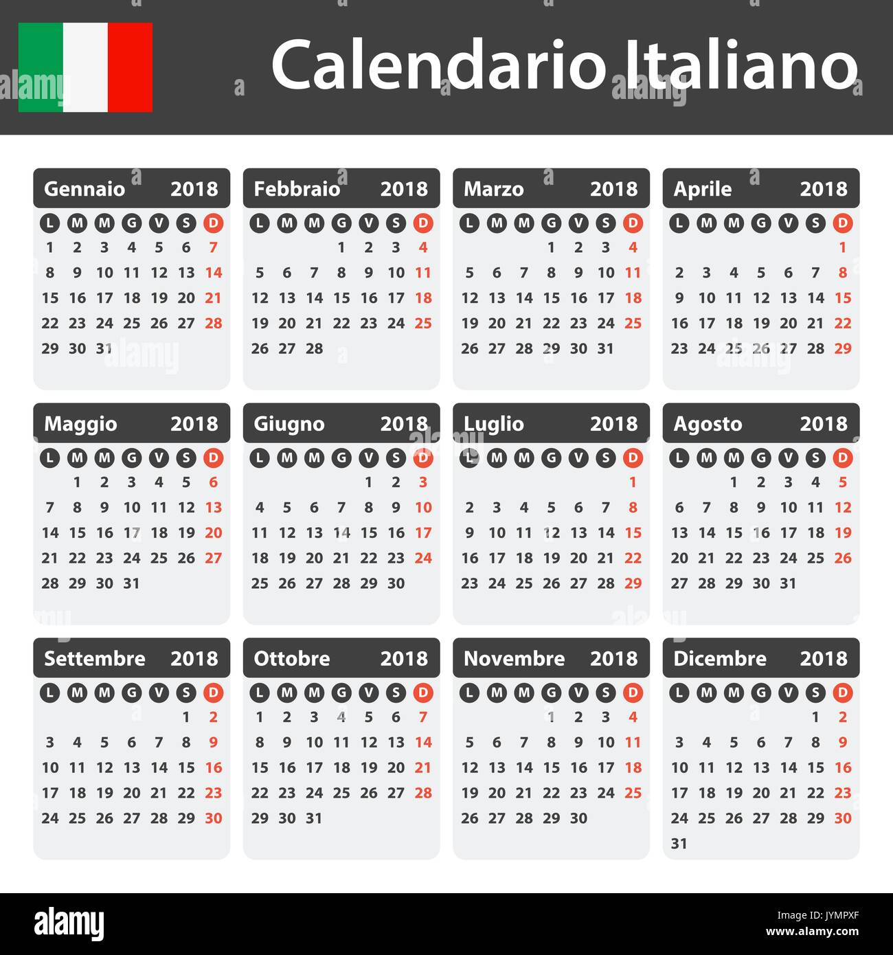 italian calendar for 2018 scheduler agenda or diary template week