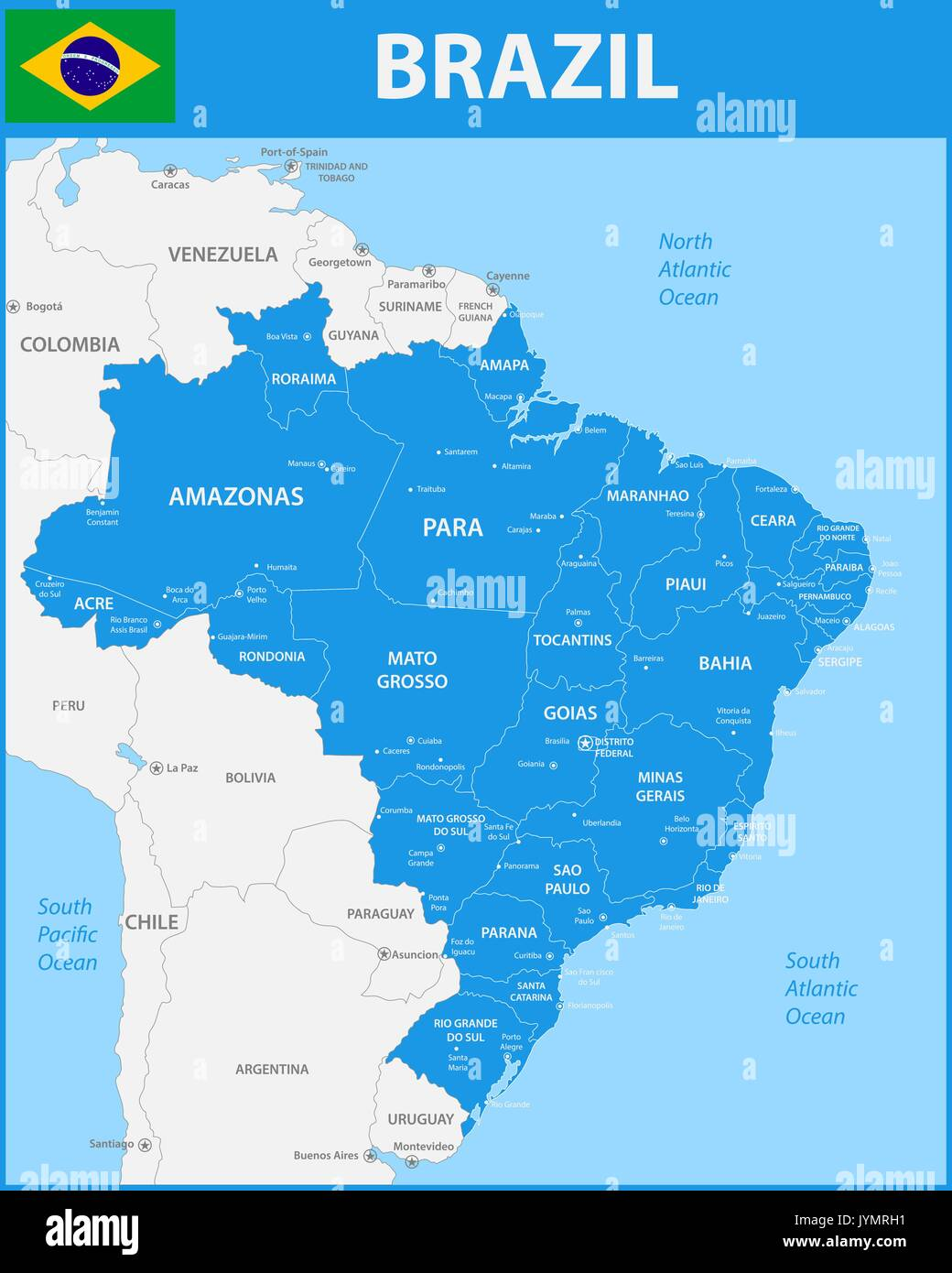 The detailed map of the Brazil with regions or states and cities ...