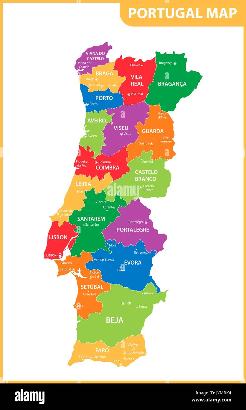 The Detailed Map Of The Portugal With Regions Or States And Cities - Portugal map with cities