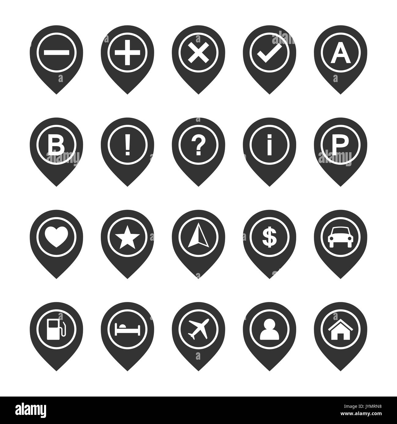 vector icon set of map pins or pointers place location markers or