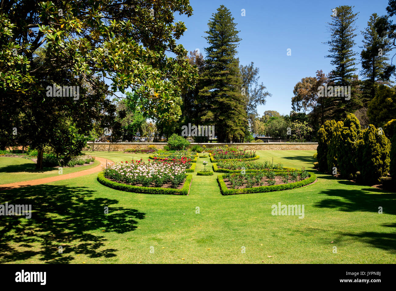 Landscaped Gardens With Flower Beds At Government House Residence In Perth  City, Western Australia