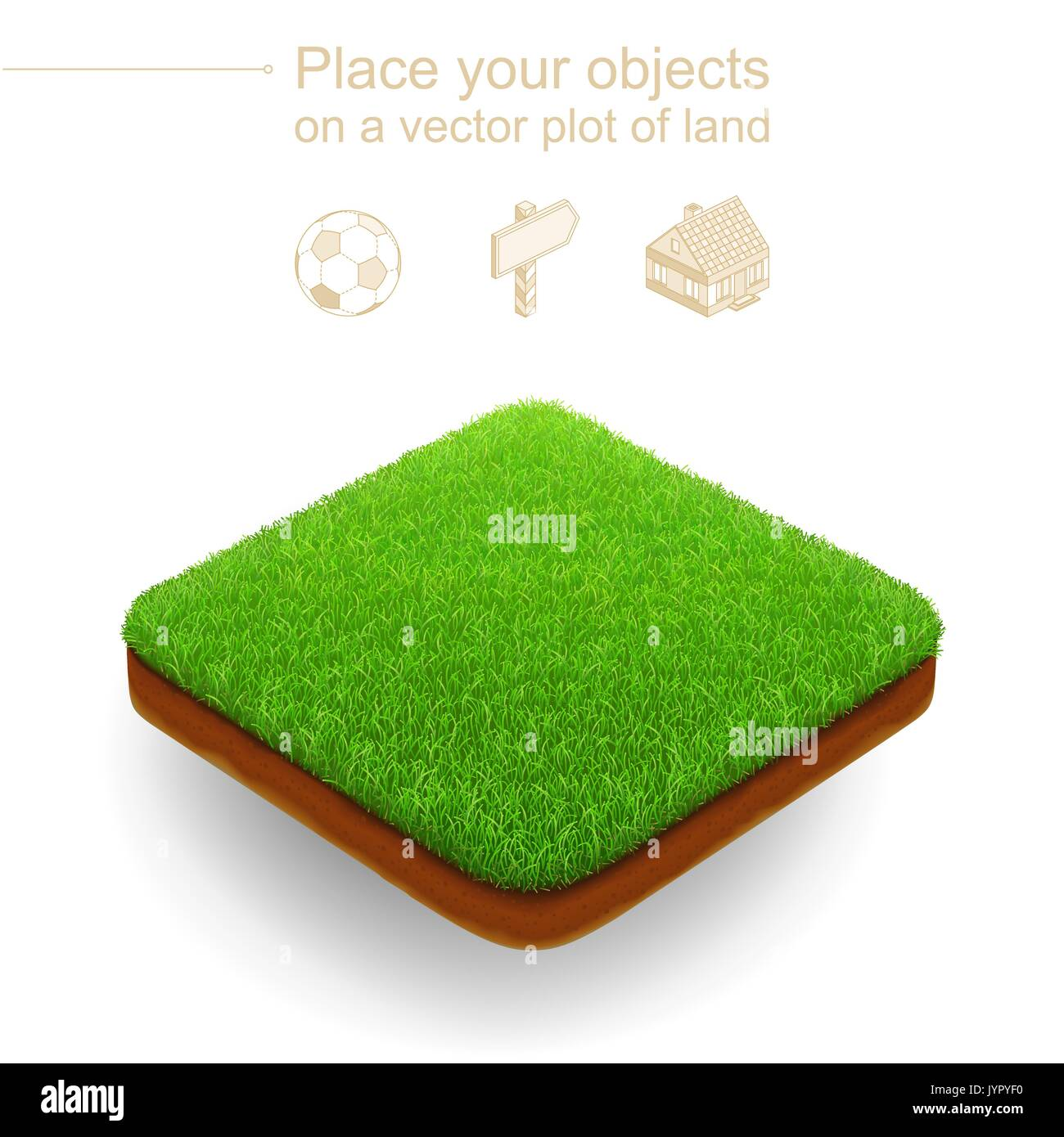 Square isometric lawn with a dense green grass and a brown for Soil xat cut off