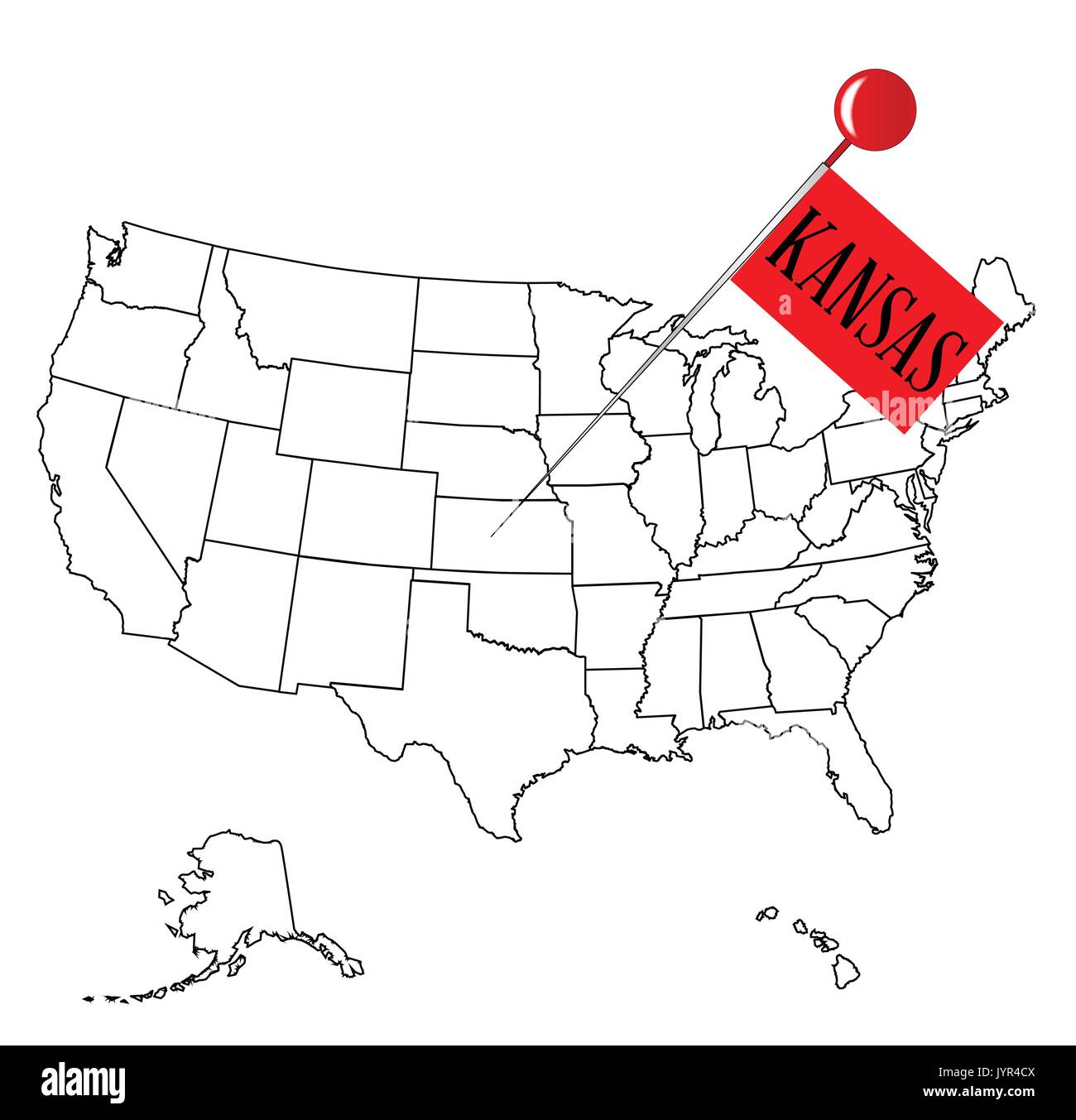 Worksheet. An outline map of USA with a knob pin in the state of Kansas Stock