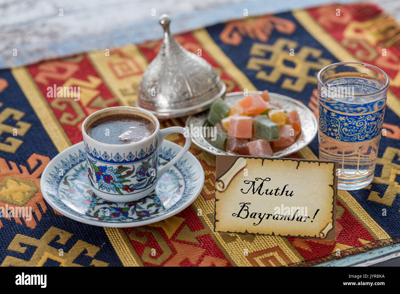 Happy Eid Text In Turkish On Greeting Card With Turkish Coffee Stock