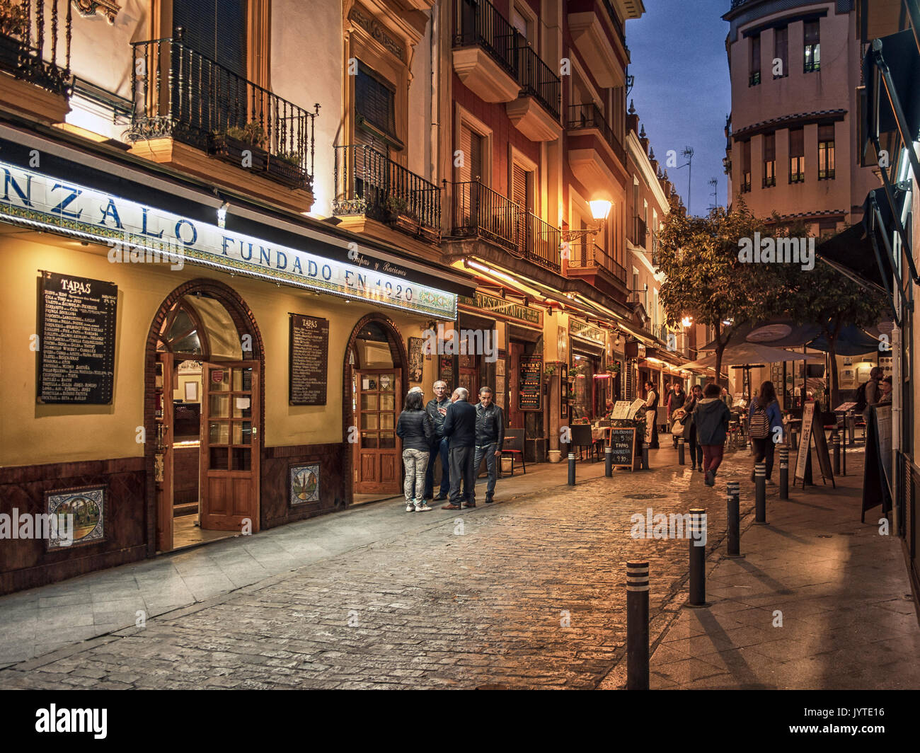 SEVILLE SPAIN View Of Bars And Restaurants Along Alvarez