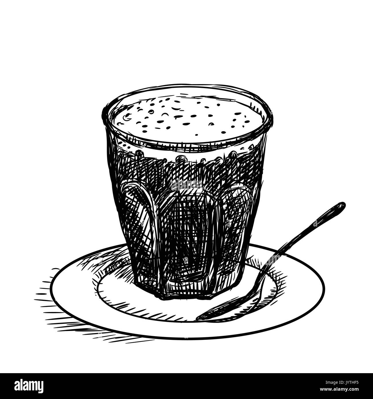 Coffee cup sketch - Hand Drawn Sketch Of Cup Of Coffee Black And White Simple Line Vector Illustration For