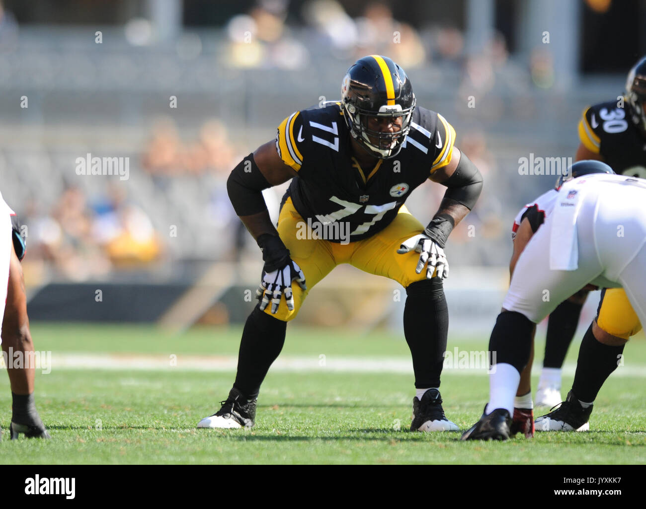 764bf7066 ... NFL Pro Line Mens Pittsburgh Steelers Marcus Gilbert Team Color Jersey  Marcus Gilbert 77 during the Atlanta ...