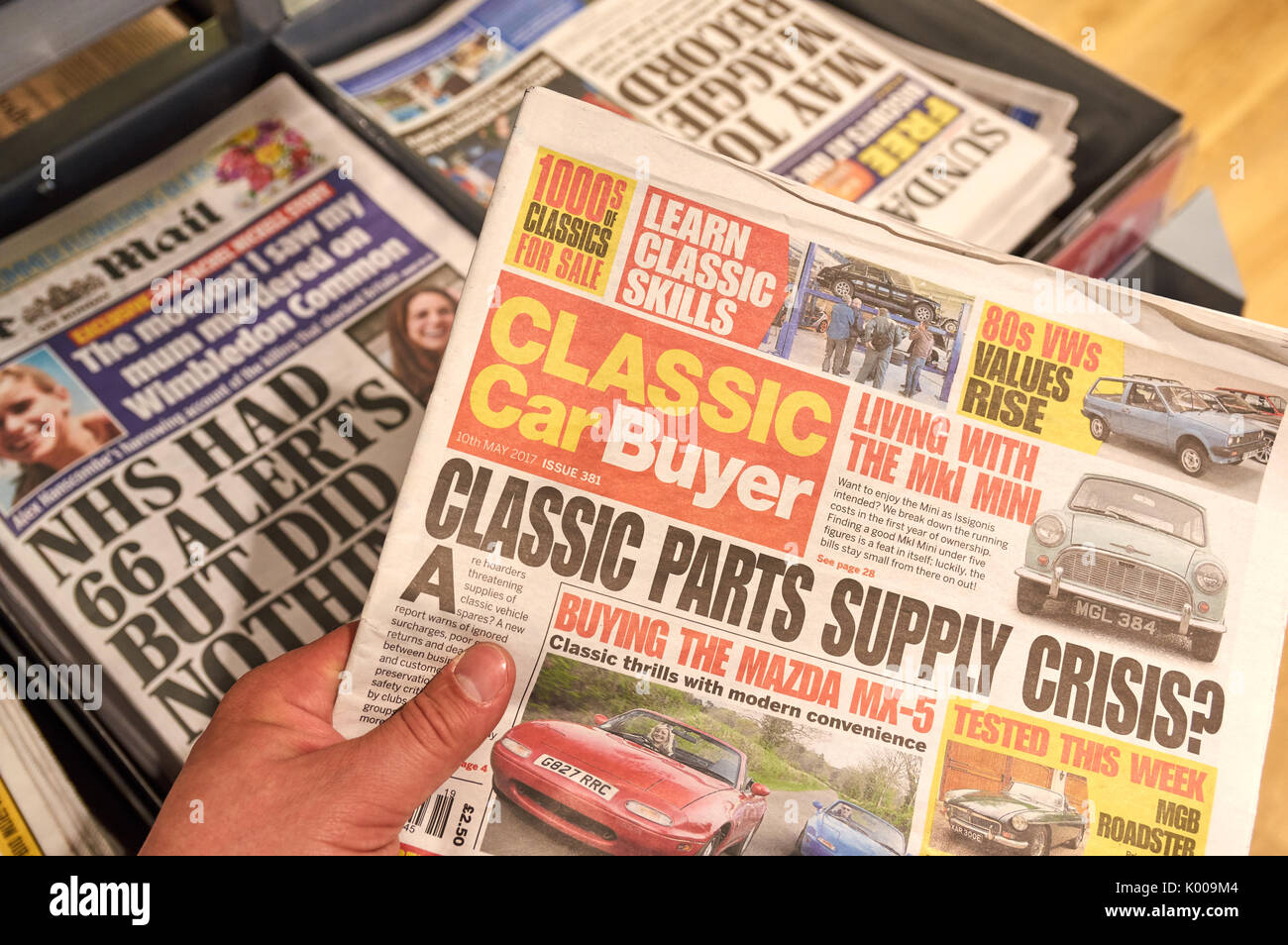 london, england - may 14, 2017 : classic car buyer newspaper