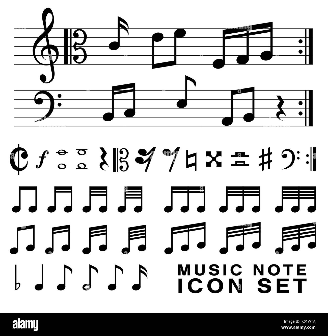 Music notes black white stock vector images alamy standard music notes symbol set vector eps10 stock vector biocorpaavc Image collections