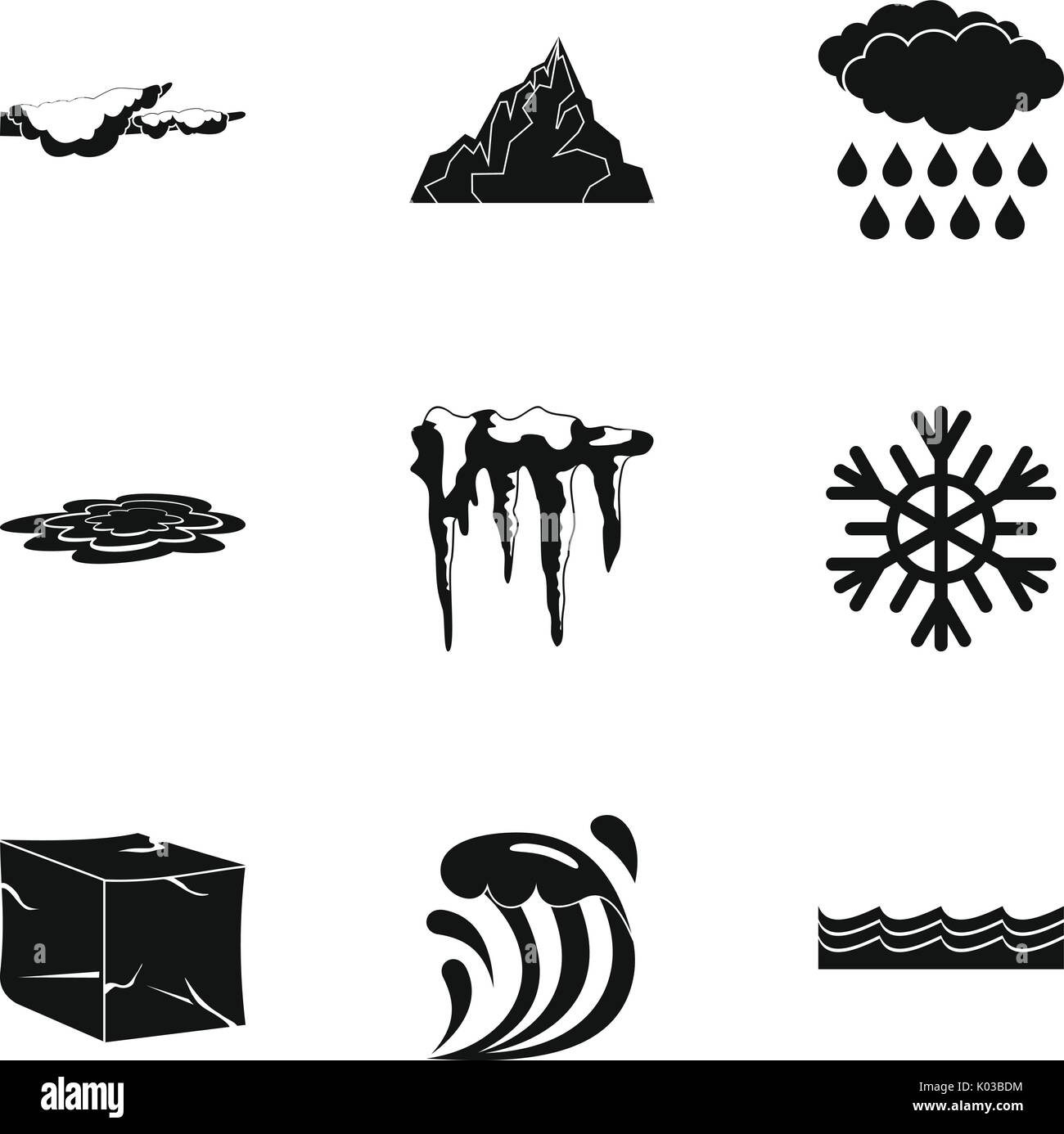 Water form icon set, simple style Stock Vector Art & Illustration