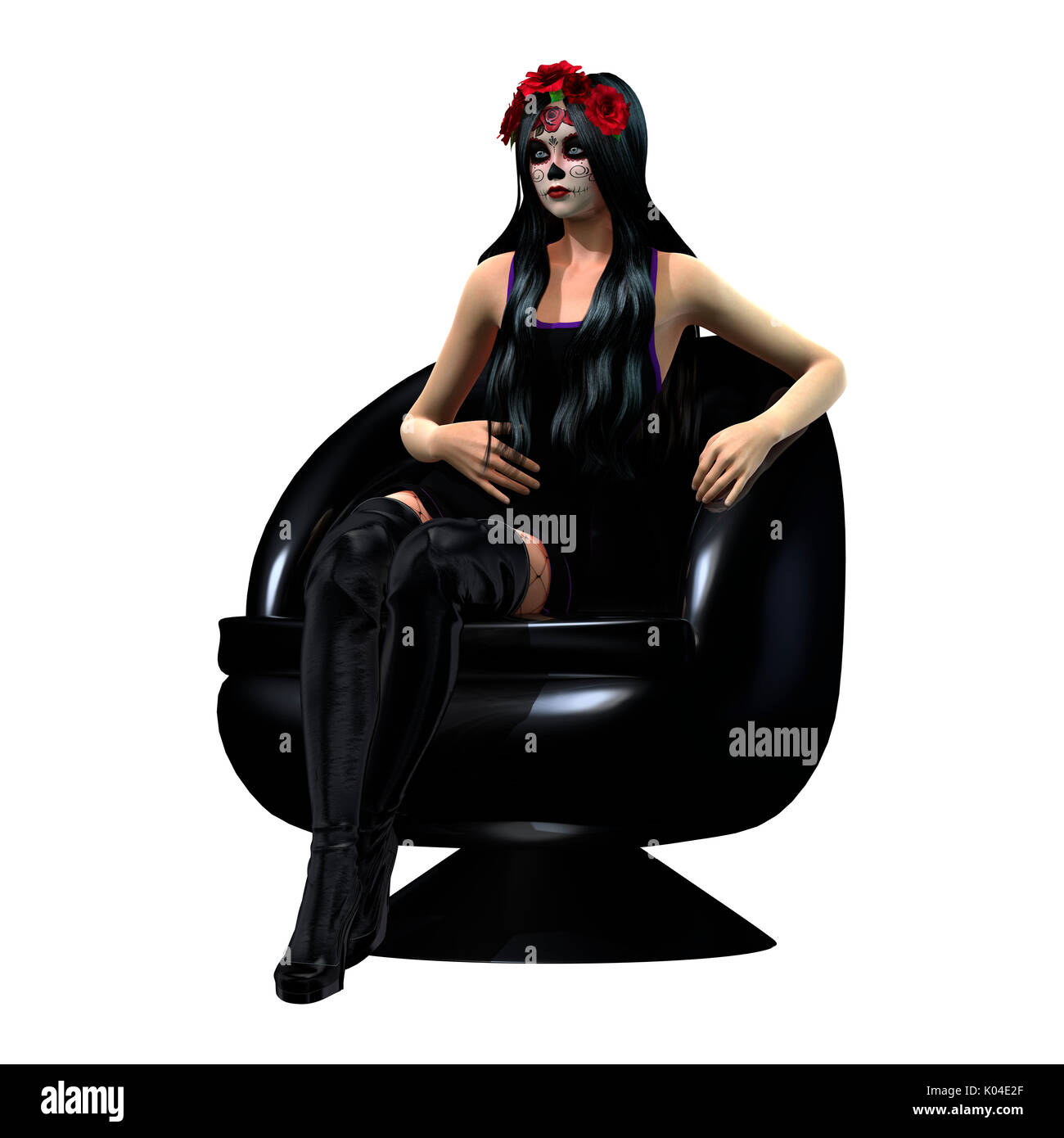 Black skull chair - 3d Rendering Of A Sugar Skull Girl Sitting In A Black Chair Stock Image
