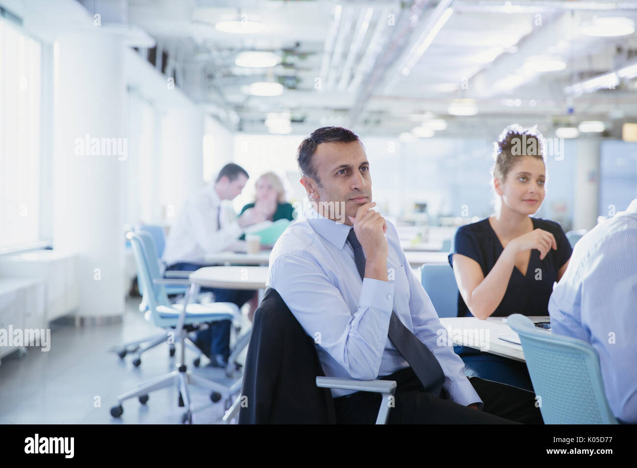 serious attentive businessman listening in conference room meeting rh alamy com