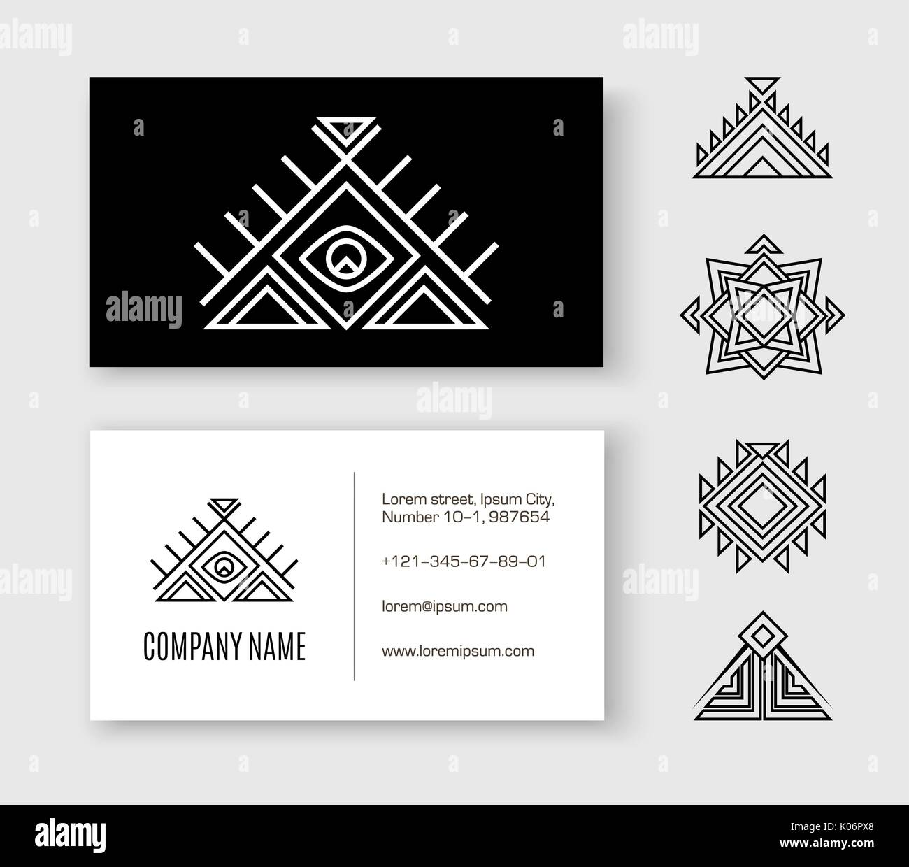 Black white pattern business card ethnic element stock vector art black white pattern business card ethnic element reheart