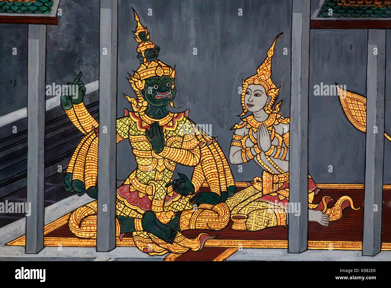 Close Up Beautiful Painting On Wall In Temple Of The Emerald Buddha Wat  Phra Kaew In Thailand. Ramakien Themes Based On Ancient Ramayana Epos