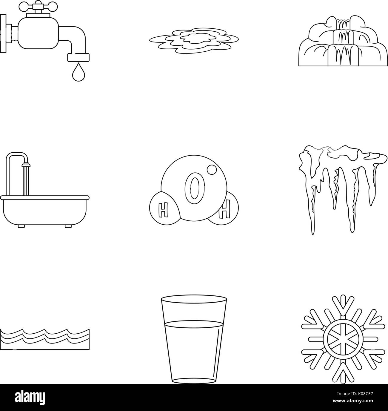 Different water form icon set, outline style Stock Vector Art
