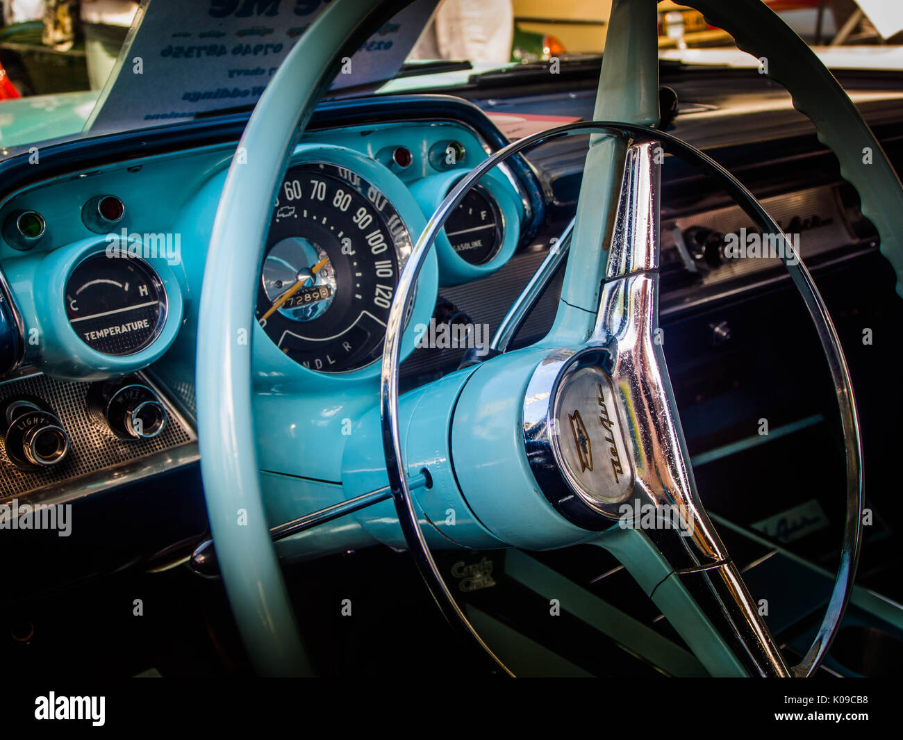 The Front Interior Of A 1957 Chevrolet Bel Air Four Door Sedan Stock Chevy