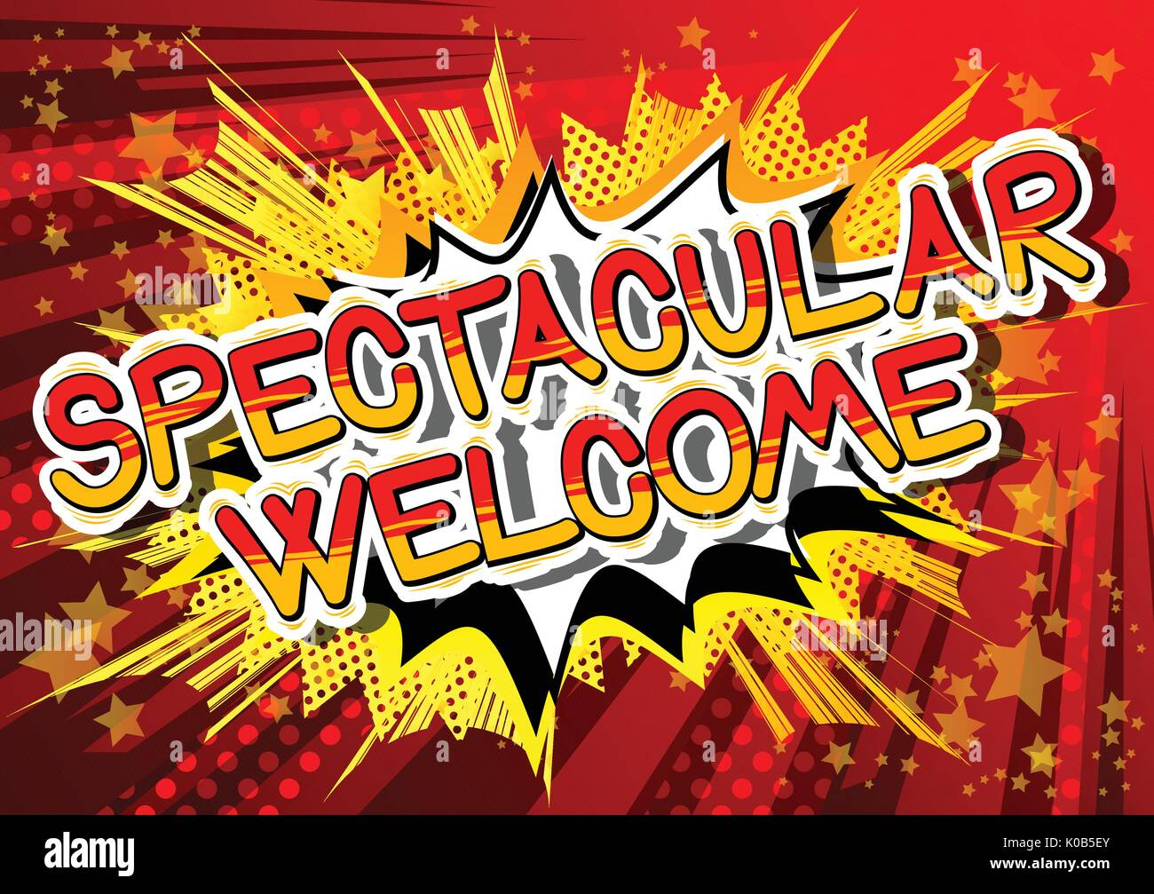Spectacular Welcome - Comic book word on abstract background Stock ...