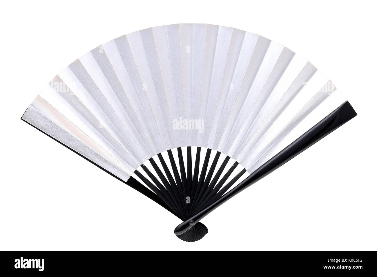 5e319289 traditional chinese style silver hand fan isolated on white background