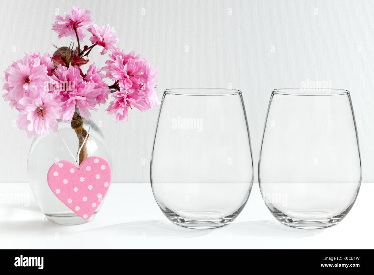 Floral Mockup Of Two Stemless Wine Glasses Perfect For - Wine glass custom vinyl stickers
