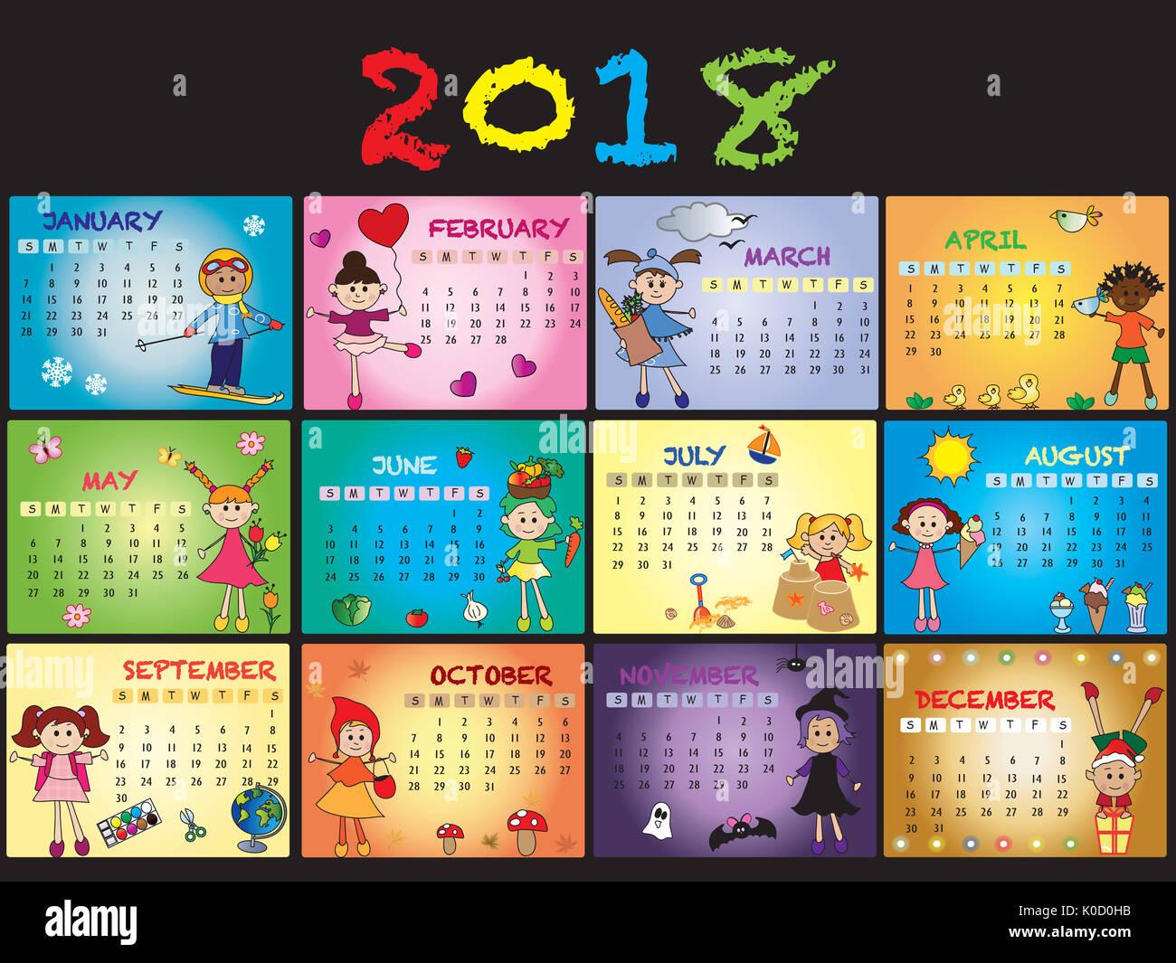 Calendar Kids 2018 : Calendar with happy children stock photo royalty
