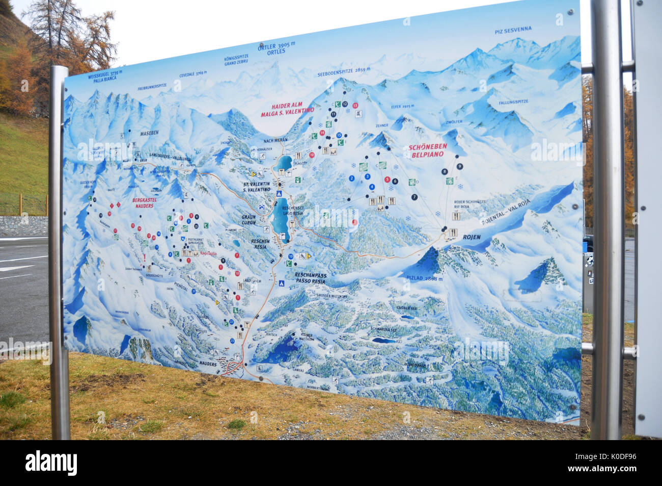 Map of Skiparadise Nauders in countryside at TrentinoAlto valley in