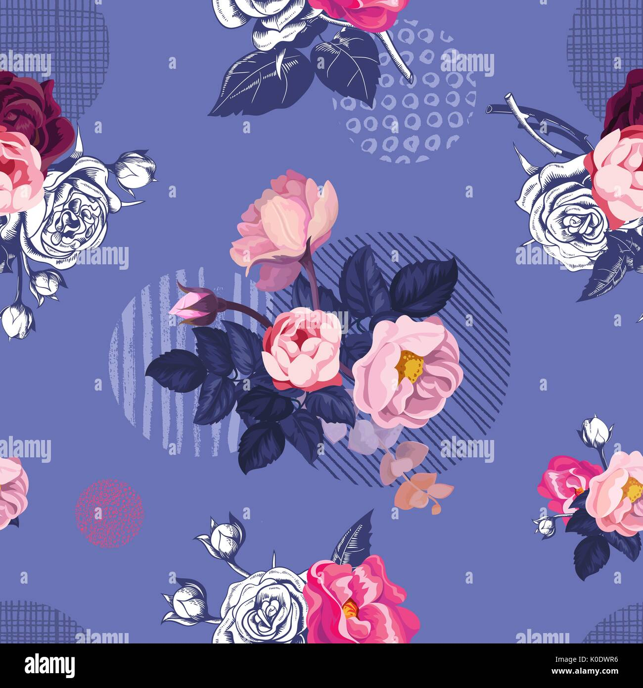 Romantic natural seamless pattern with half-colored blooming summer flowers  and leaves against purple background
